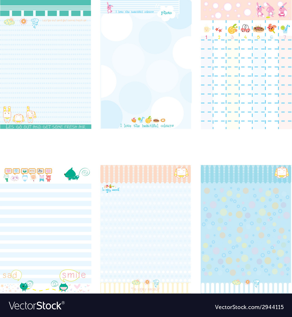 Paper notebook color blue style vector | Price: 1 Credit (USD $1)