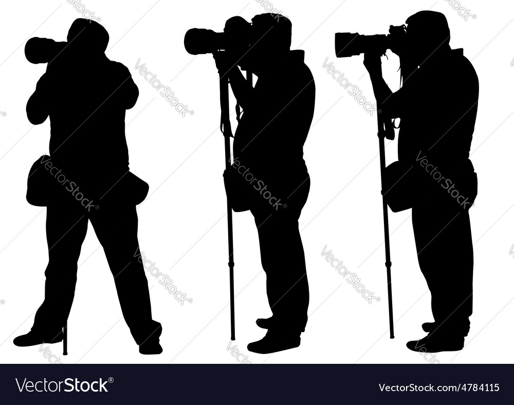 Photographers with monopod vector
