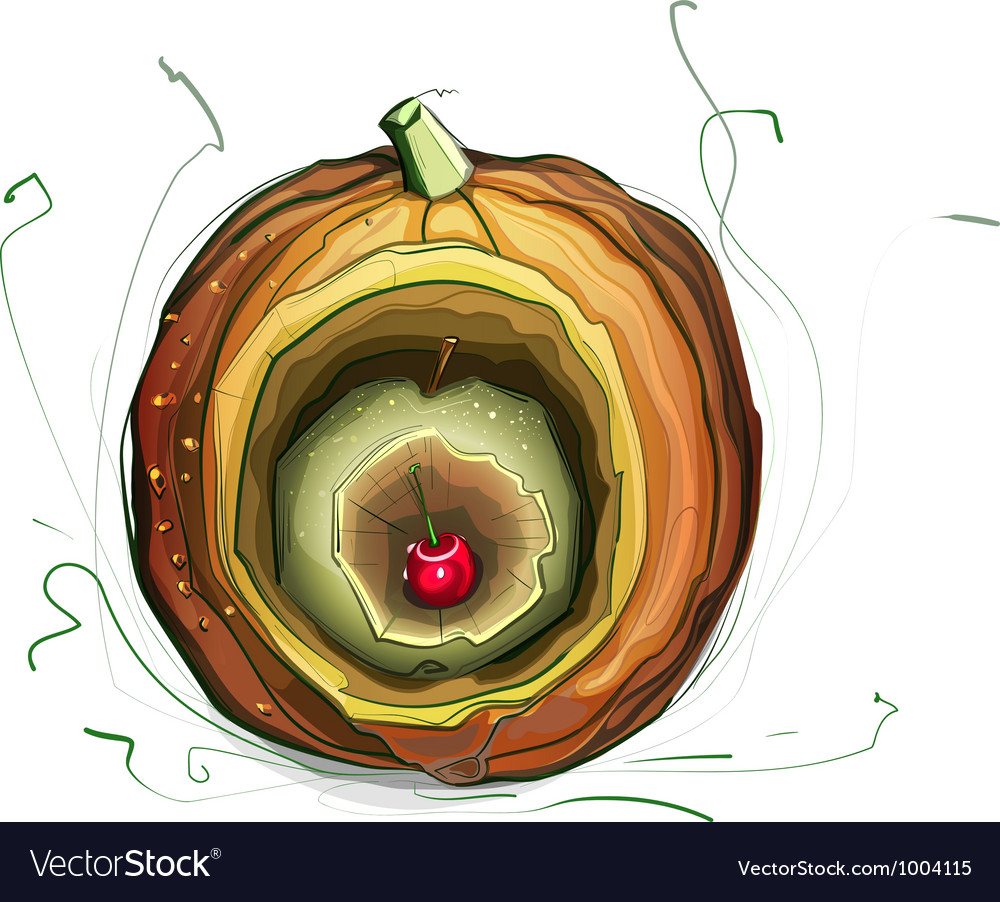 Pumpkin apple cherry still life vector | Price: 1 Credit (USD $1)