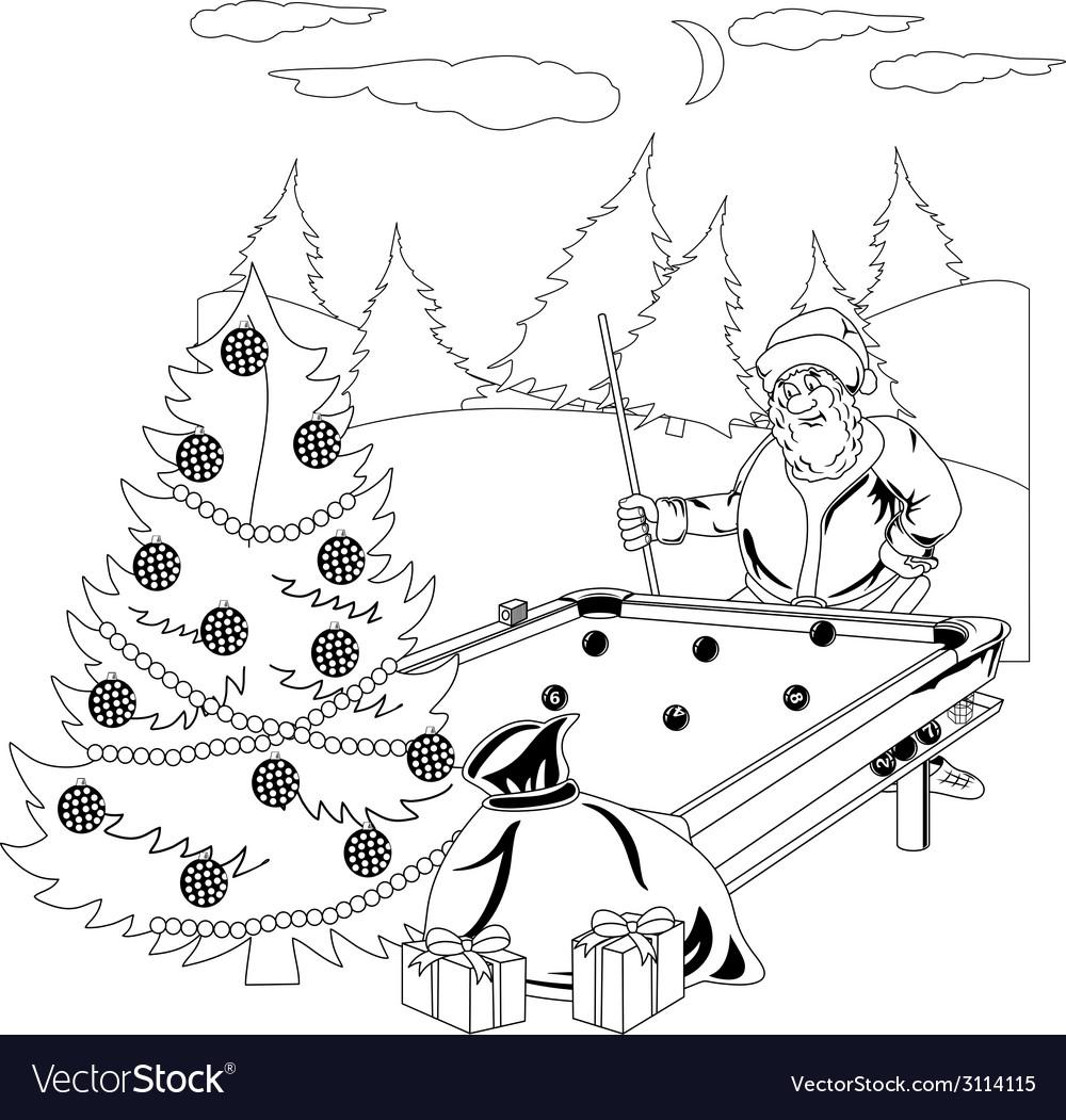Santa claus playing billiards vector | Price: 1 Credit (USD $1)
