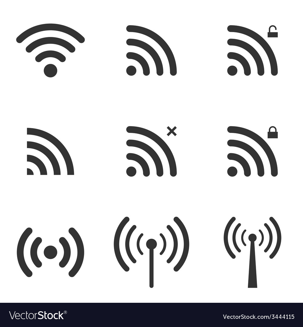 Set of wi-fi and wireless icons wifi zone sign vector | Price: 1 Credit (USD $1)
