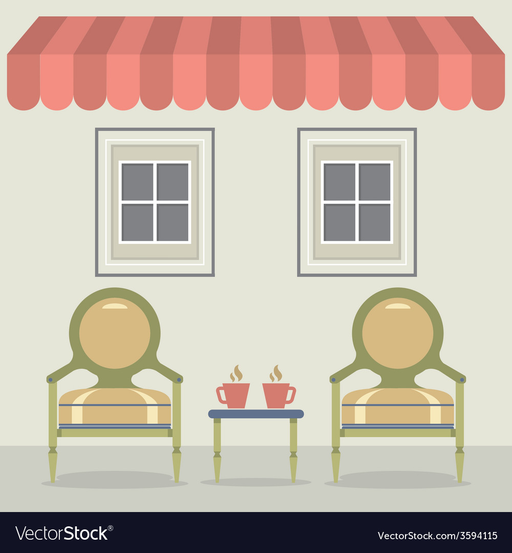 Vintage chairs set with coffee under awning and vector | Price: 1 Credit (USD $1)