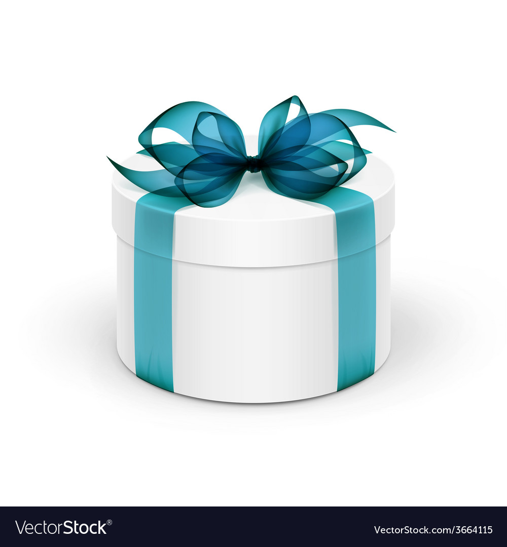 White round gift box with light blue turquoise vector | Price: 1 Credit (USD $1)