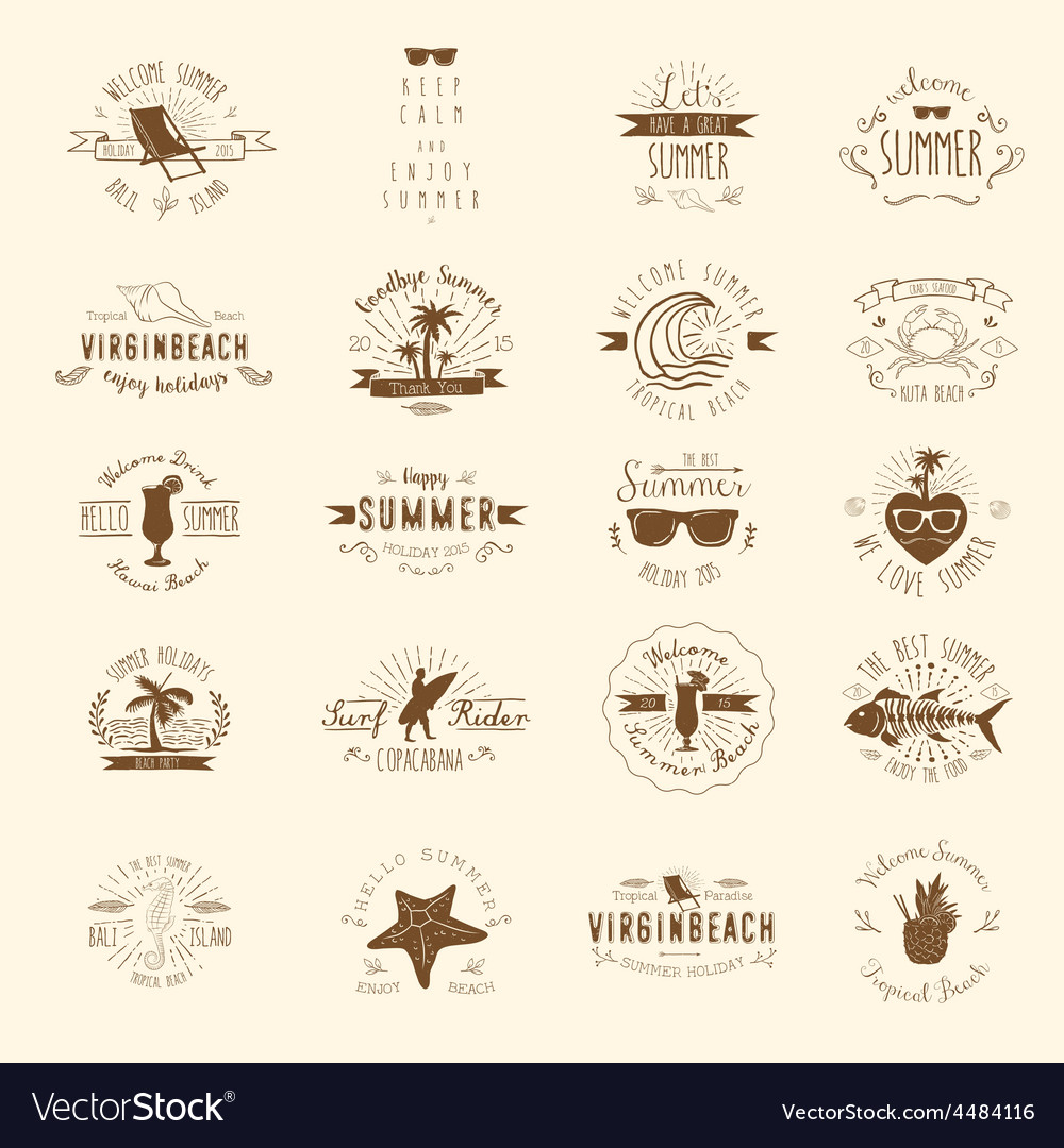 20 summer badges vector | Price: 1 Credit (USD $1)