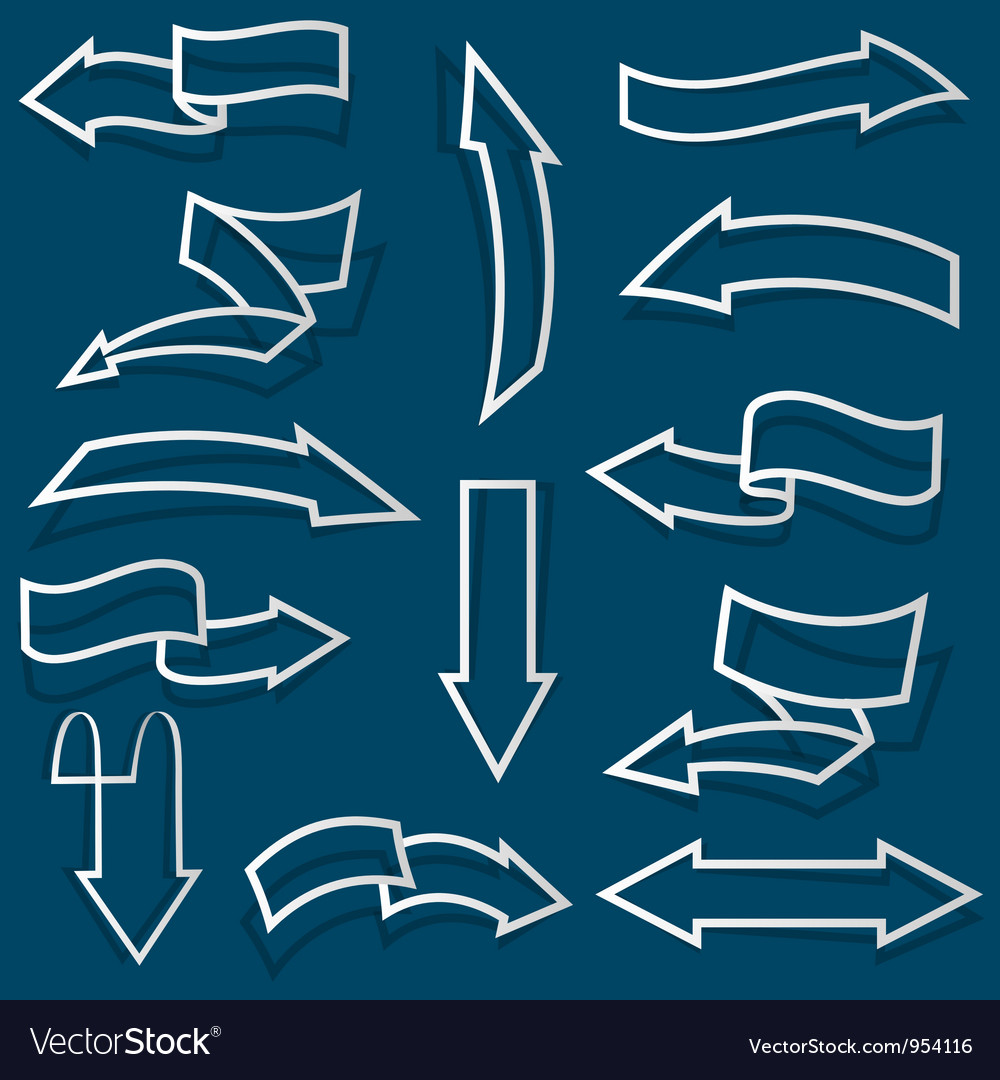 Arrows from paper outline vector | Price: 1 Credit (USD $1)