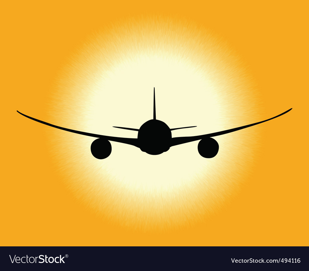 Black silhouette of an airplane vector | Price: 1 Credit (USD $1)