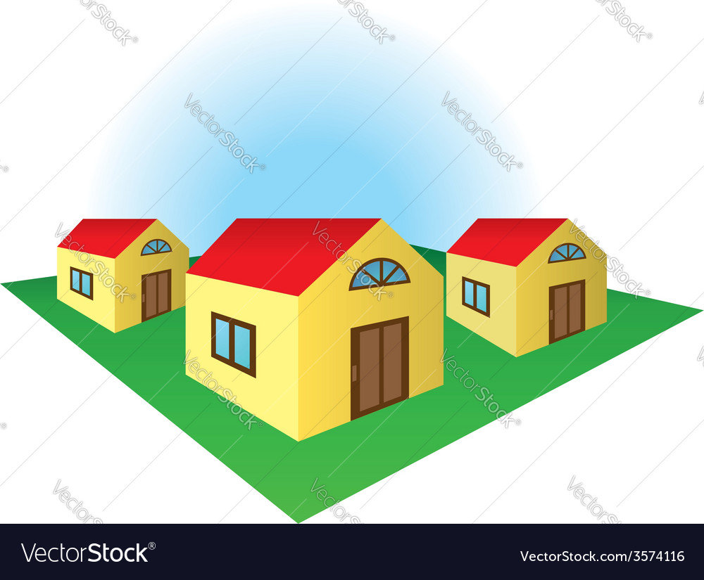 Houses on the corner vector | Price: 1 Credit (USD $1)