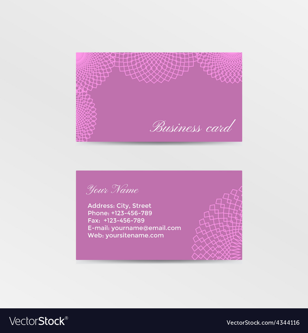 Pink business card decorated lacework vector | Price: 1 Credit (USD $1)