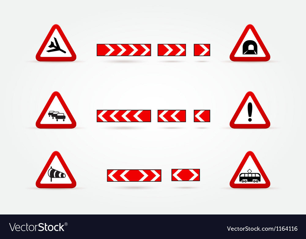 Set of warning traffic signs vector | Price: 1 Credit (USD $1)