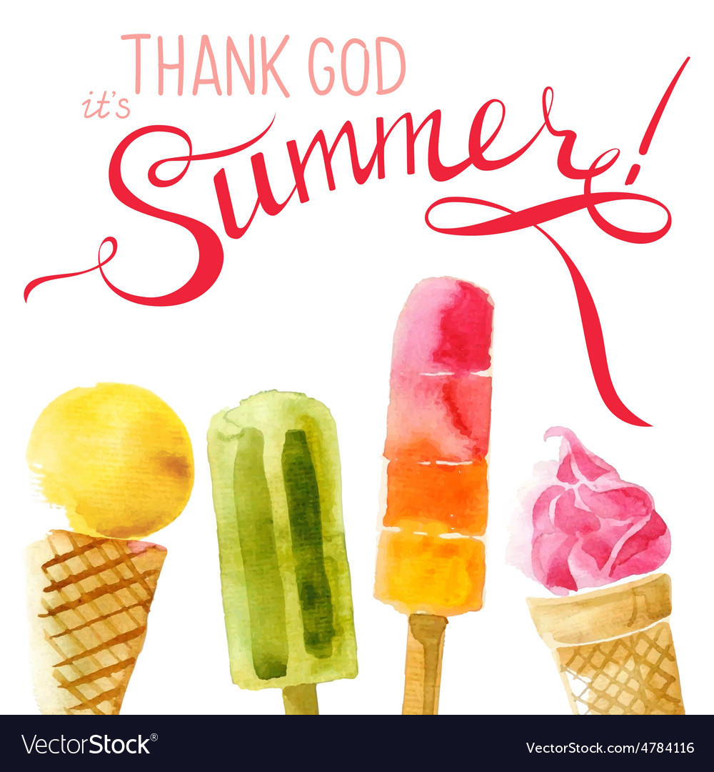 Watercolor ice cream with type design vector