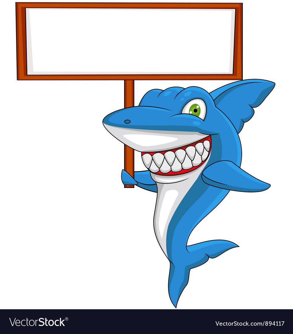 Angry shark with banner vector | Price: 3 Credit (USD $3)