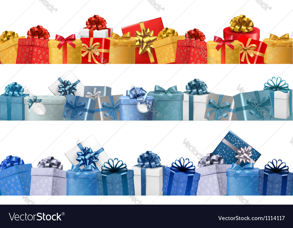 Collection of holiday banners with colorful gift vector | Price: 1 Credit (USD $1)
