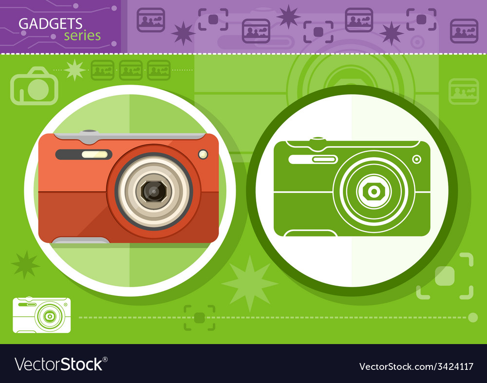 Digital camera in frame on green background vector | Price: 1 Credit (USD $1)
