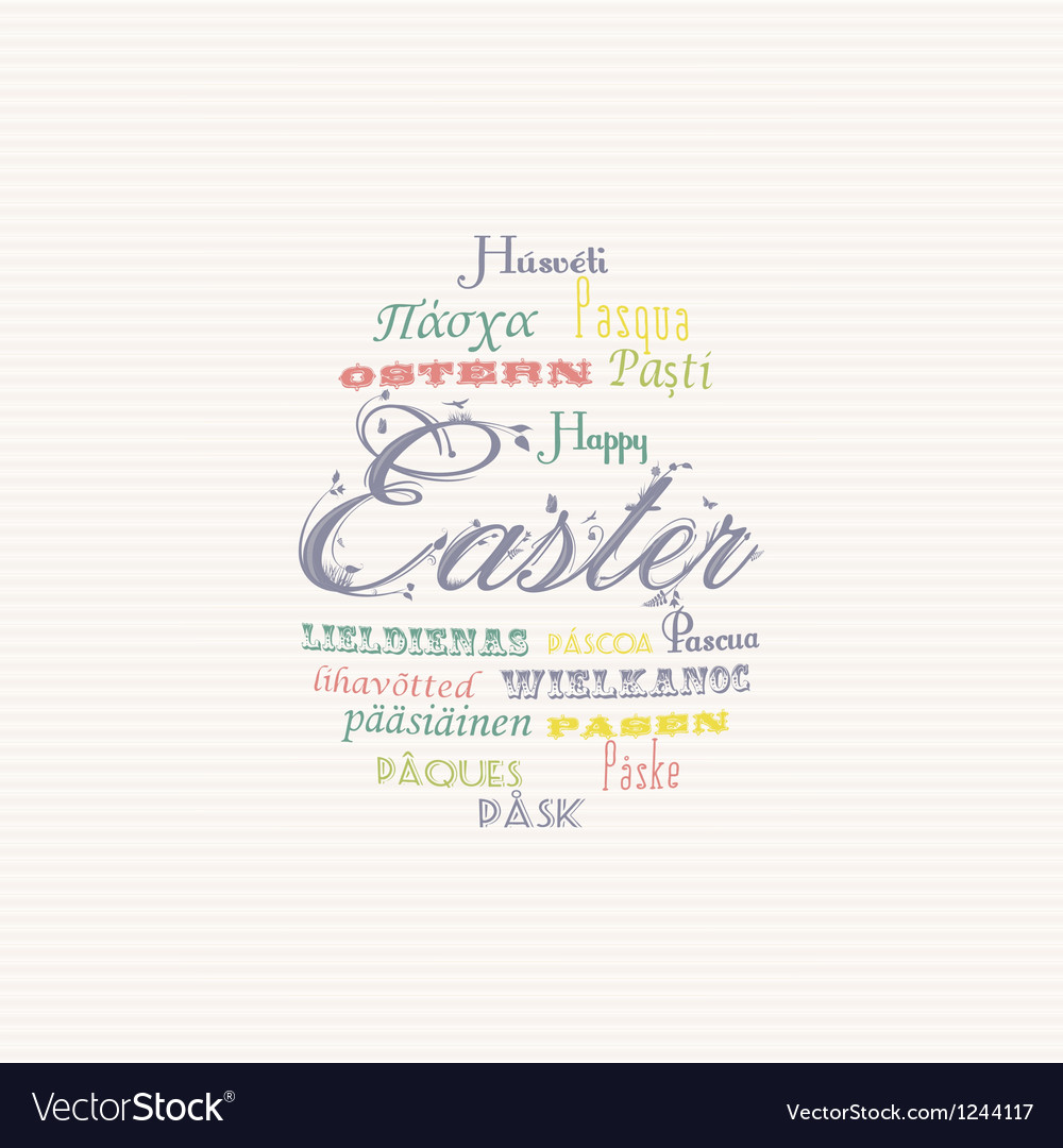 Easter typography multi language background vector | Price: 1 Credit (USD $1)