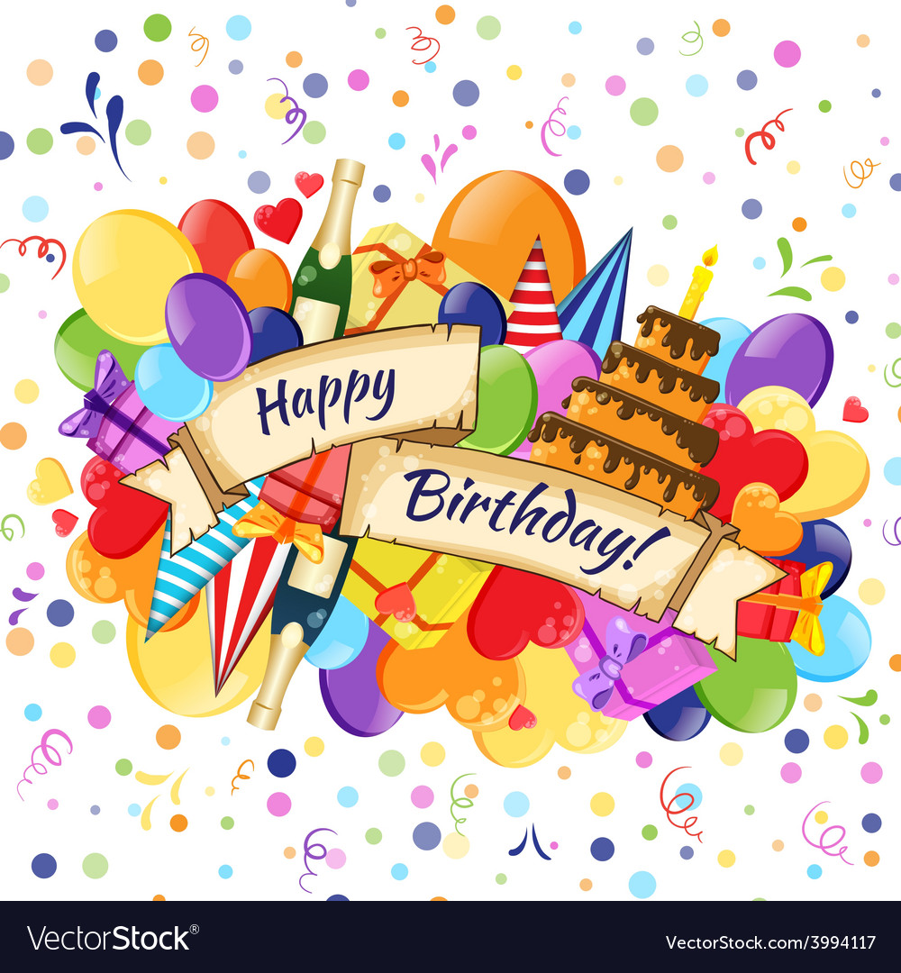 Festive celebration happy birthday background vector | Price: 1 Credit (USD $1)