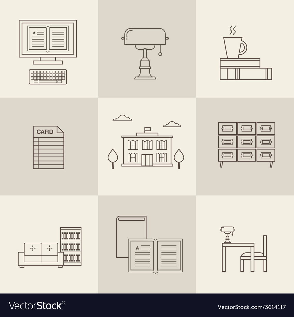 Flat library icons vector | Price: 1 Credit (USD $1)