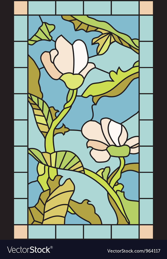 Floral stained glass vector | Price: 1 Credit (USD $1)