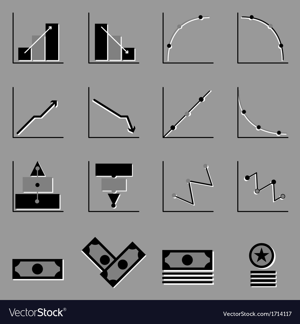 Graph and money icons on gray background vector | Price: 1 Credit (USD $1)
