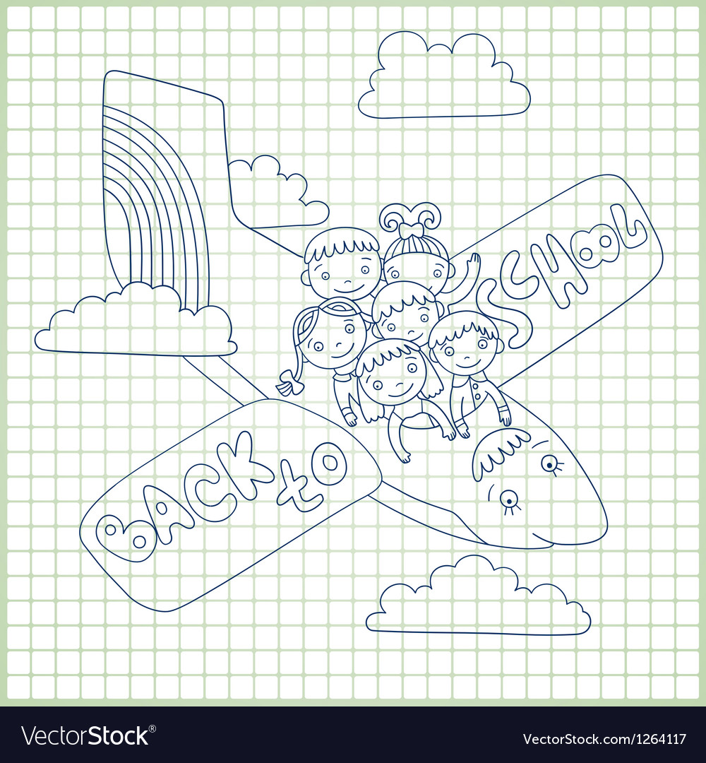 Group of schoolchildren fly in an airplane vector | Price: 1 Credit (USD $1)