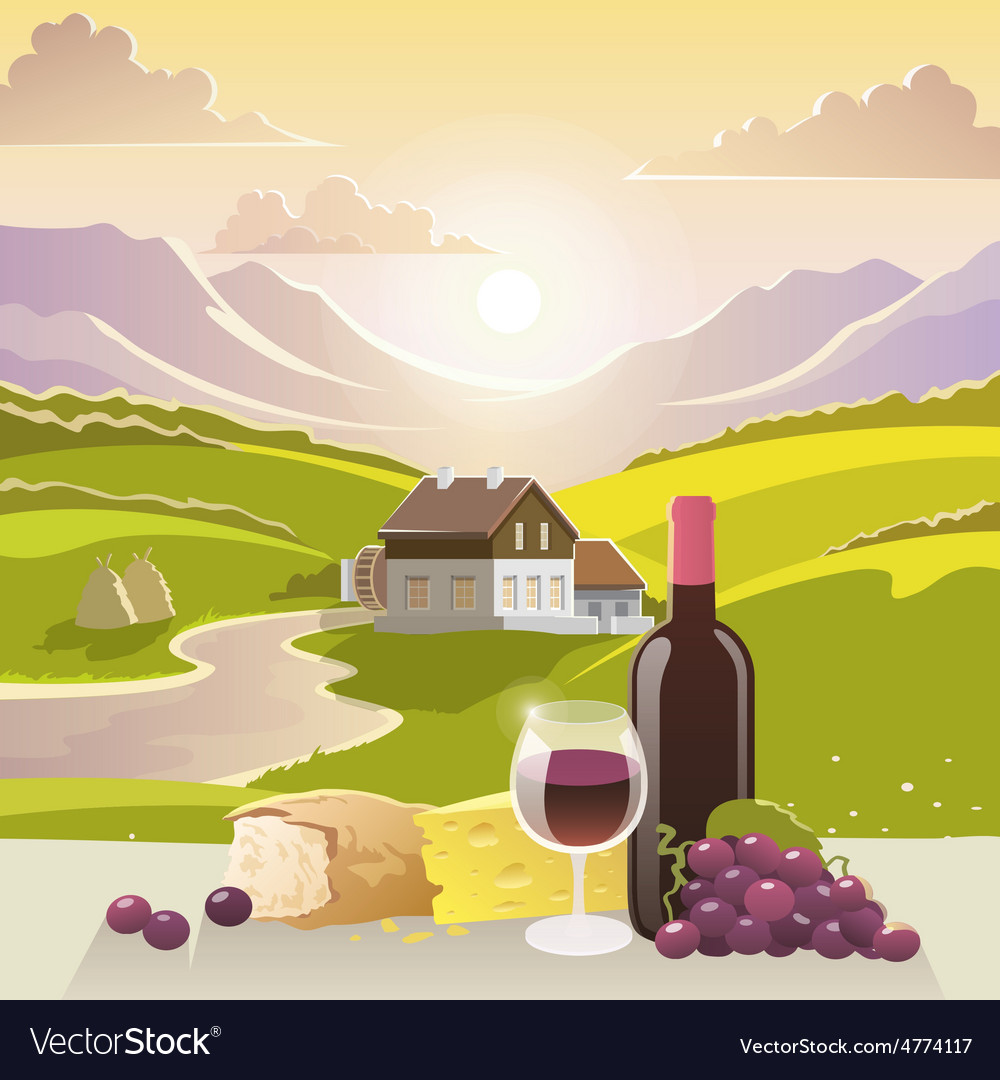 Mountain landscape with wine and cheese vector | Price: 3 Credit (USD $3)