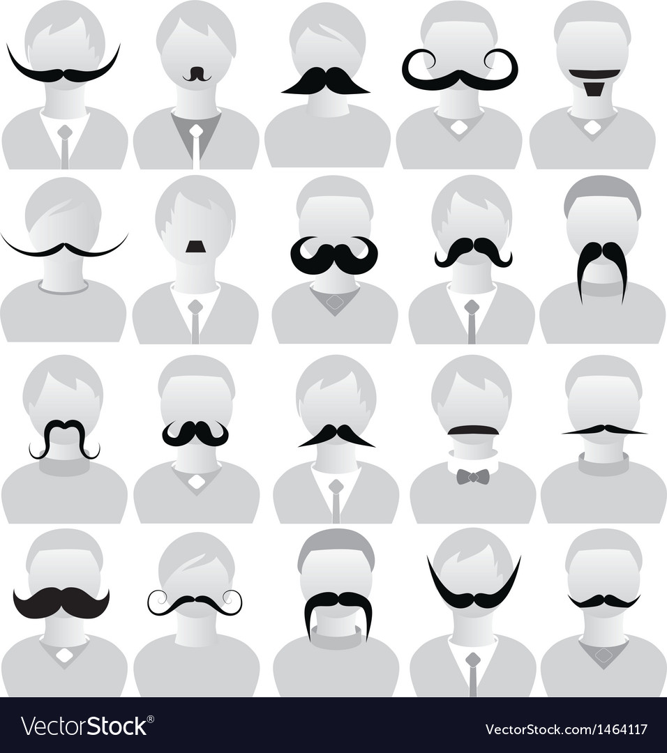 Moustaches set mustache icons vector | Price: 1 Credit (USD $1)