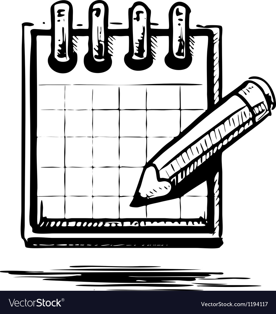 Organizer or planner with pencil vector | Price: 1 Credit (USD $1)