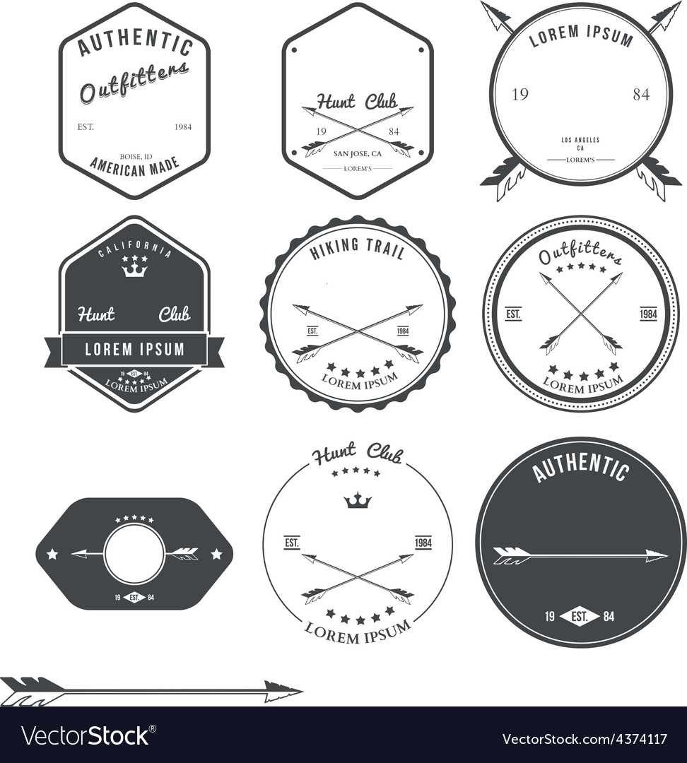 Set of vintage hunt icons emblems and labels vector | Price: 1 Credit (USD $1)