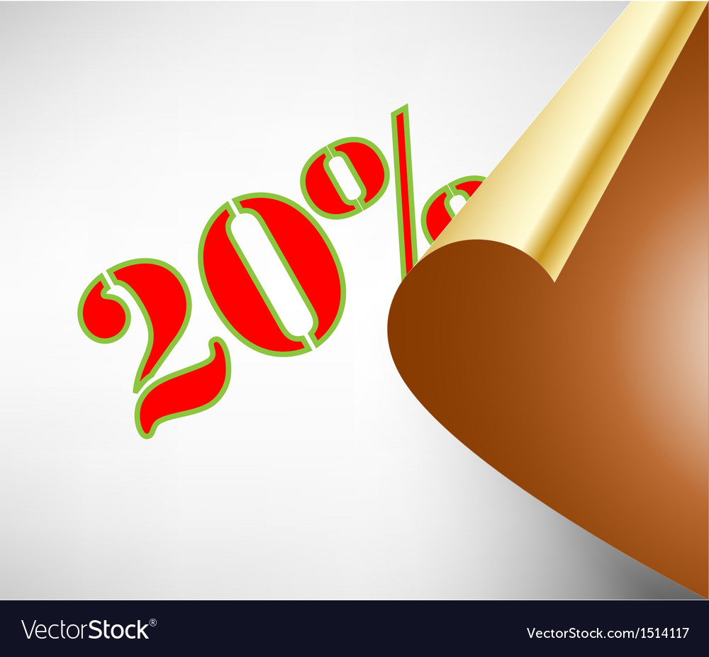 Twenty percent discount coupon vector | Price: 1 Credit (USD $1)