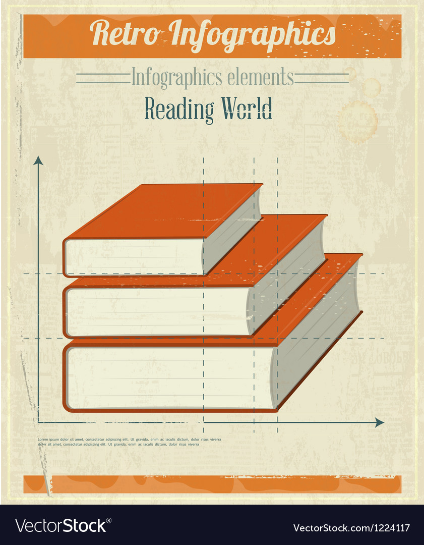 Vintage retro infographics books vector | Price: 3 Credit (USD $3)