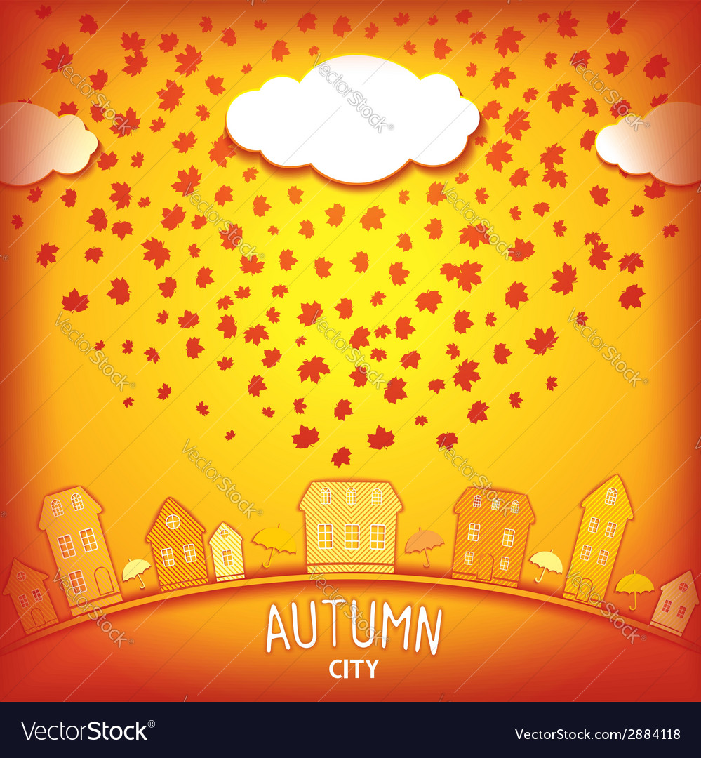 Autumn city vector | Price: 1 Credit (USD $1)