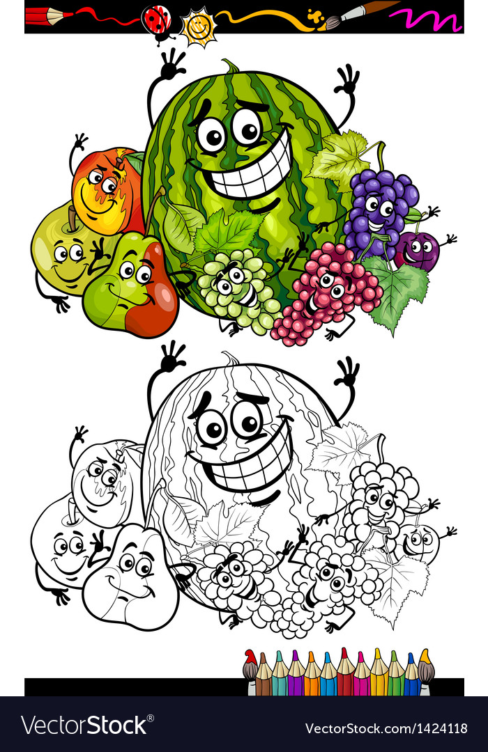 Cartoon fruits group for coloring book vector | Price: 3 Credit (USD $3)