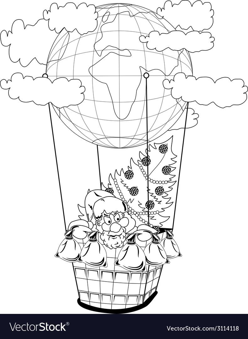 Christmas hot air balloon with santa claus vector   Price: 1 Credit (USD $1)