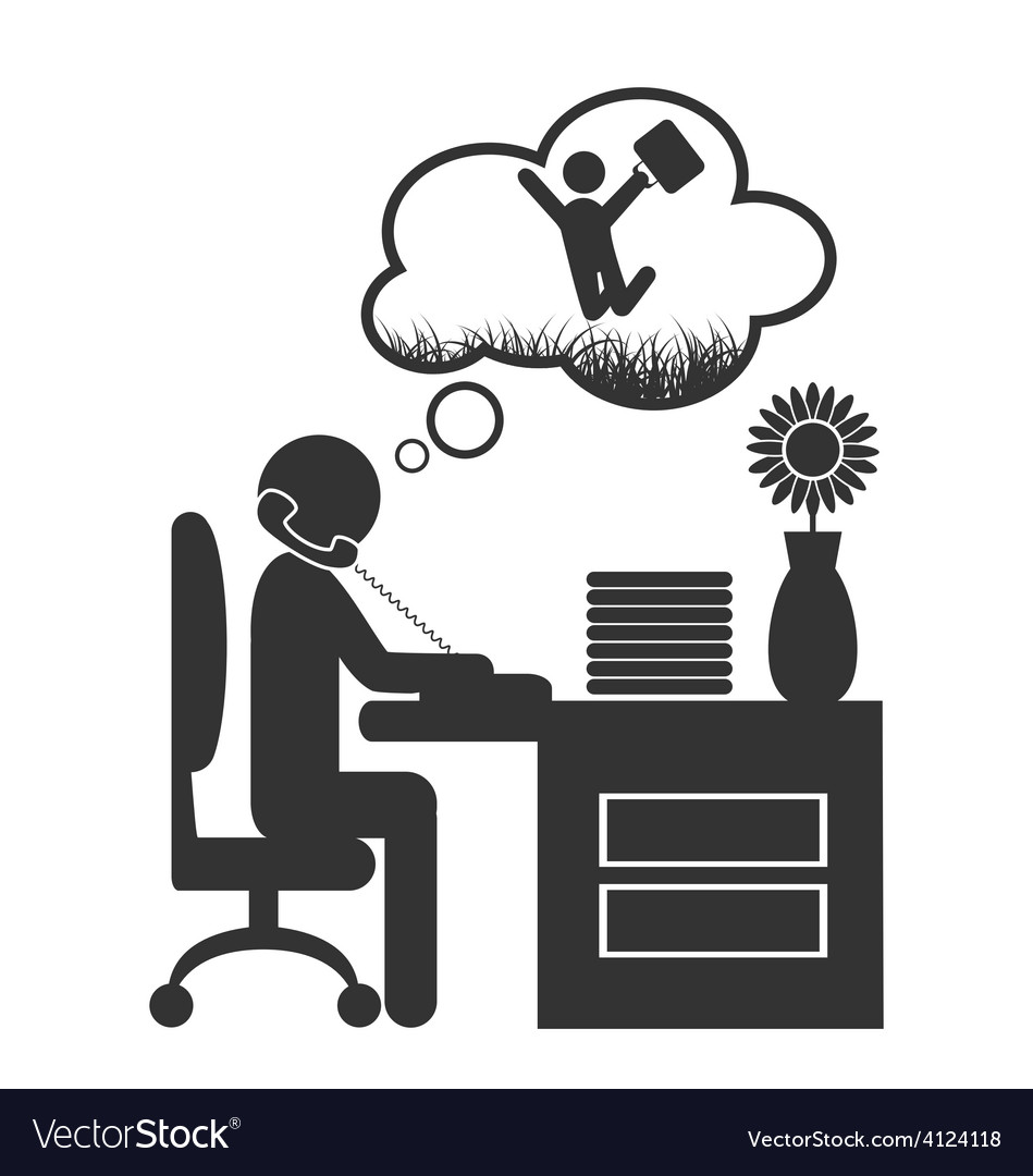 Flat office spring dream icon isolated on white vector | Price: 1 Credit (USD $1)