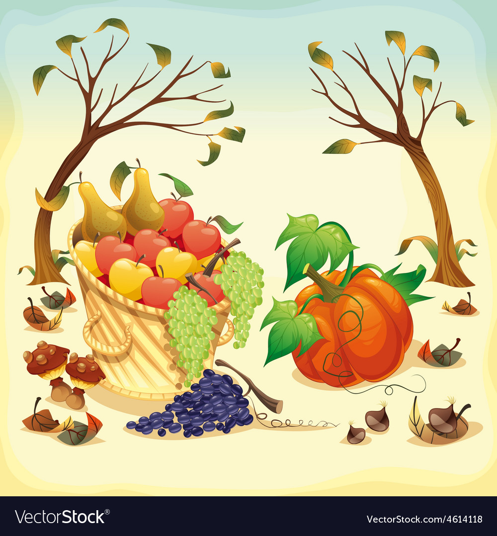 Fruit and vegetables in autumn vector | Price: 3 Credit (USD $3)