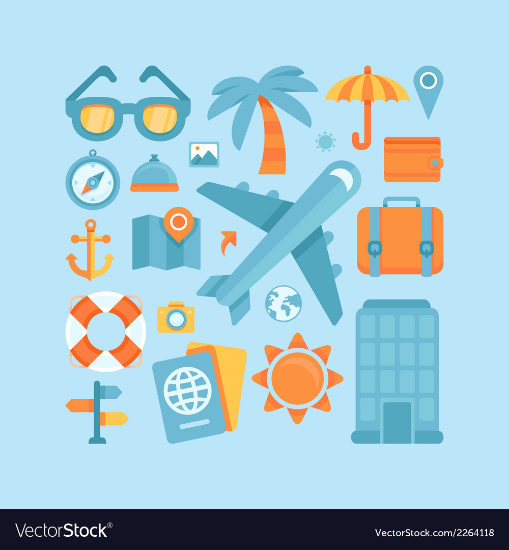 Icons in flat style - travel and vacation vector | Price: 1 Credit (USD $1)