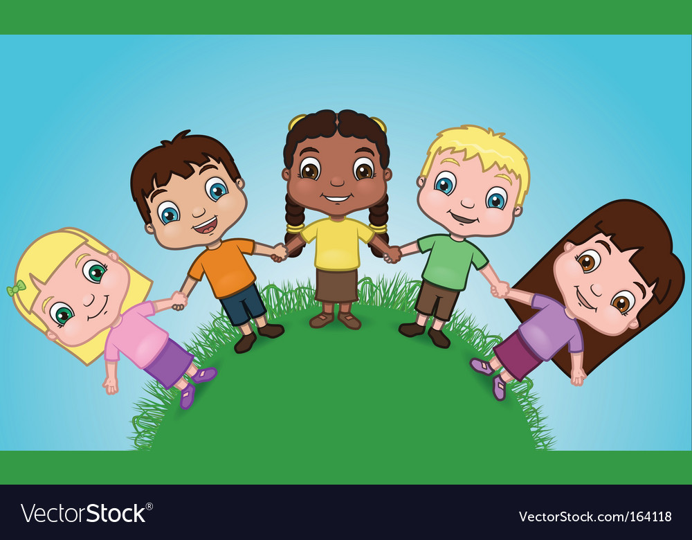 Kids holding hands on hill vector | Price: 3 Credit (USD $3)