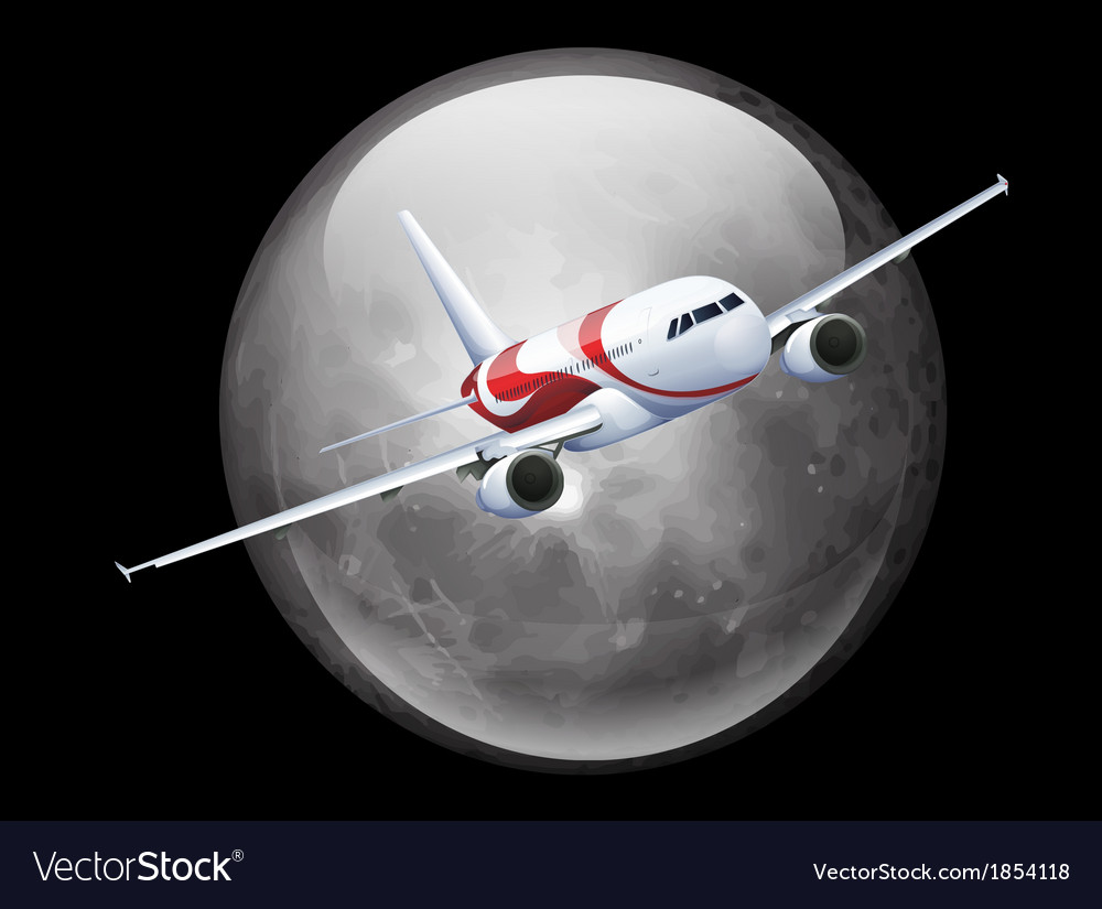 The moon and plane vector | Price: 3 Credit (USD $3)