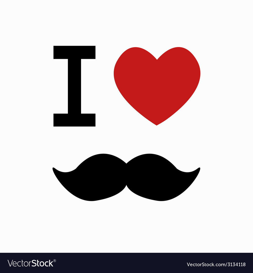 Mustache simbol on white background vector | Price: 1 Credit (USD $1)