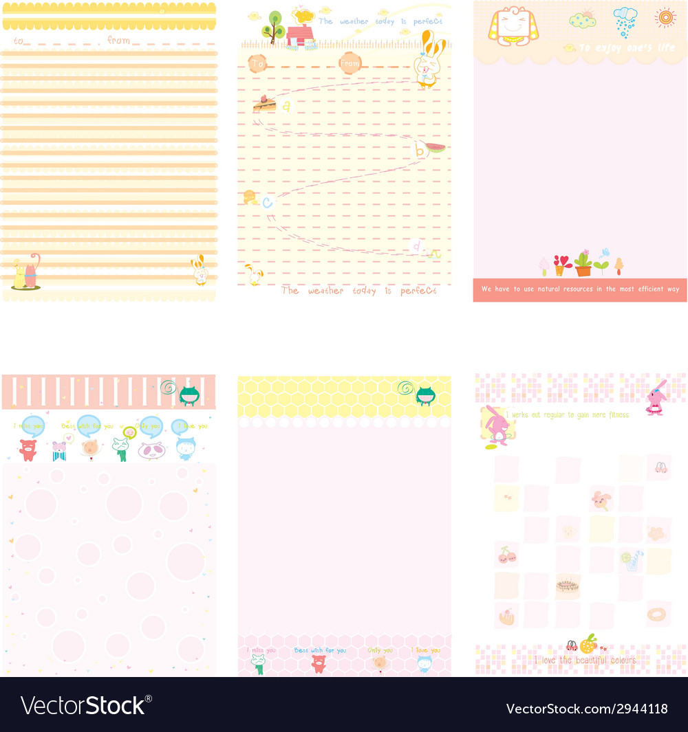 Paper notebook pink and yellow style vector | Price: 1 Credit (USD $1)