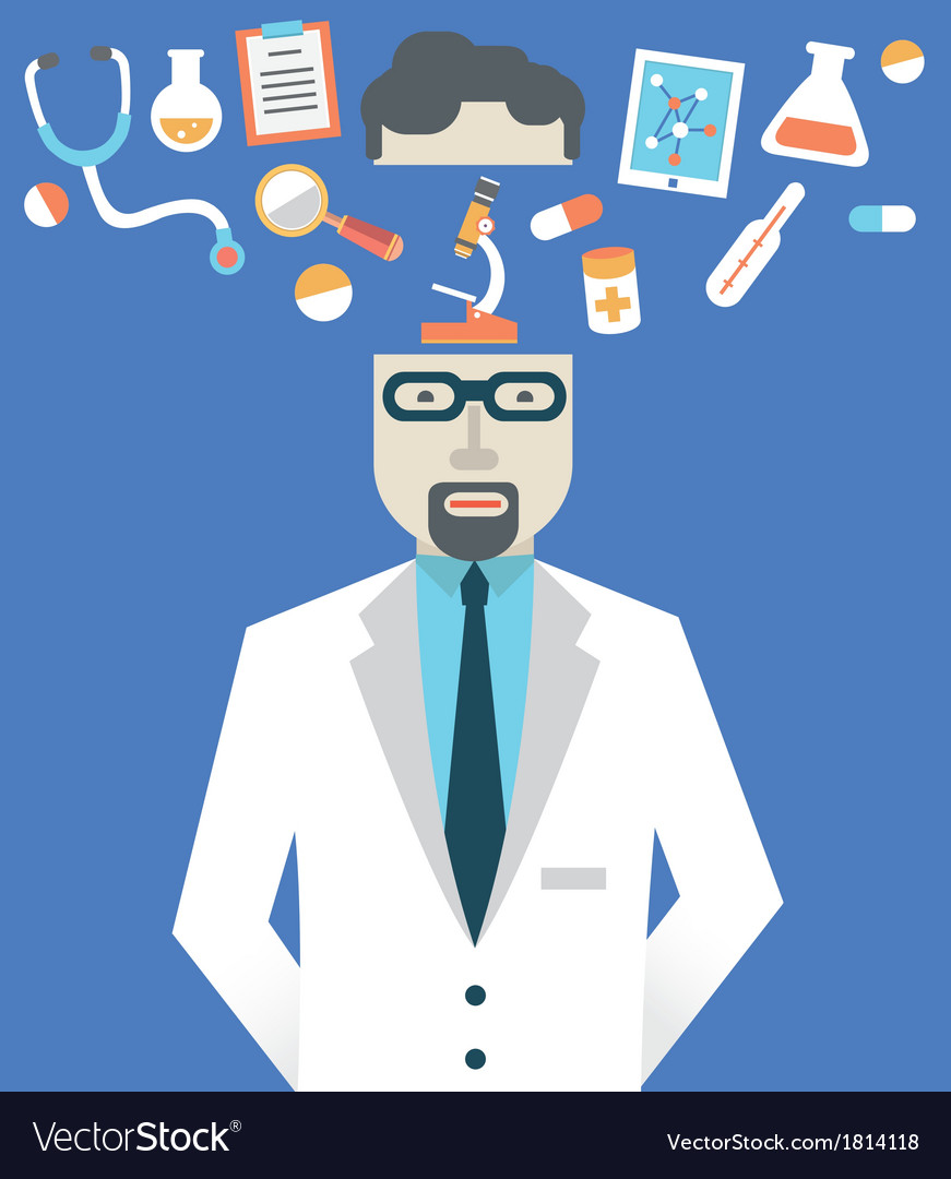 Picture of male doctor with medicine symbols vector | Price: 1 Credit (USD $1)