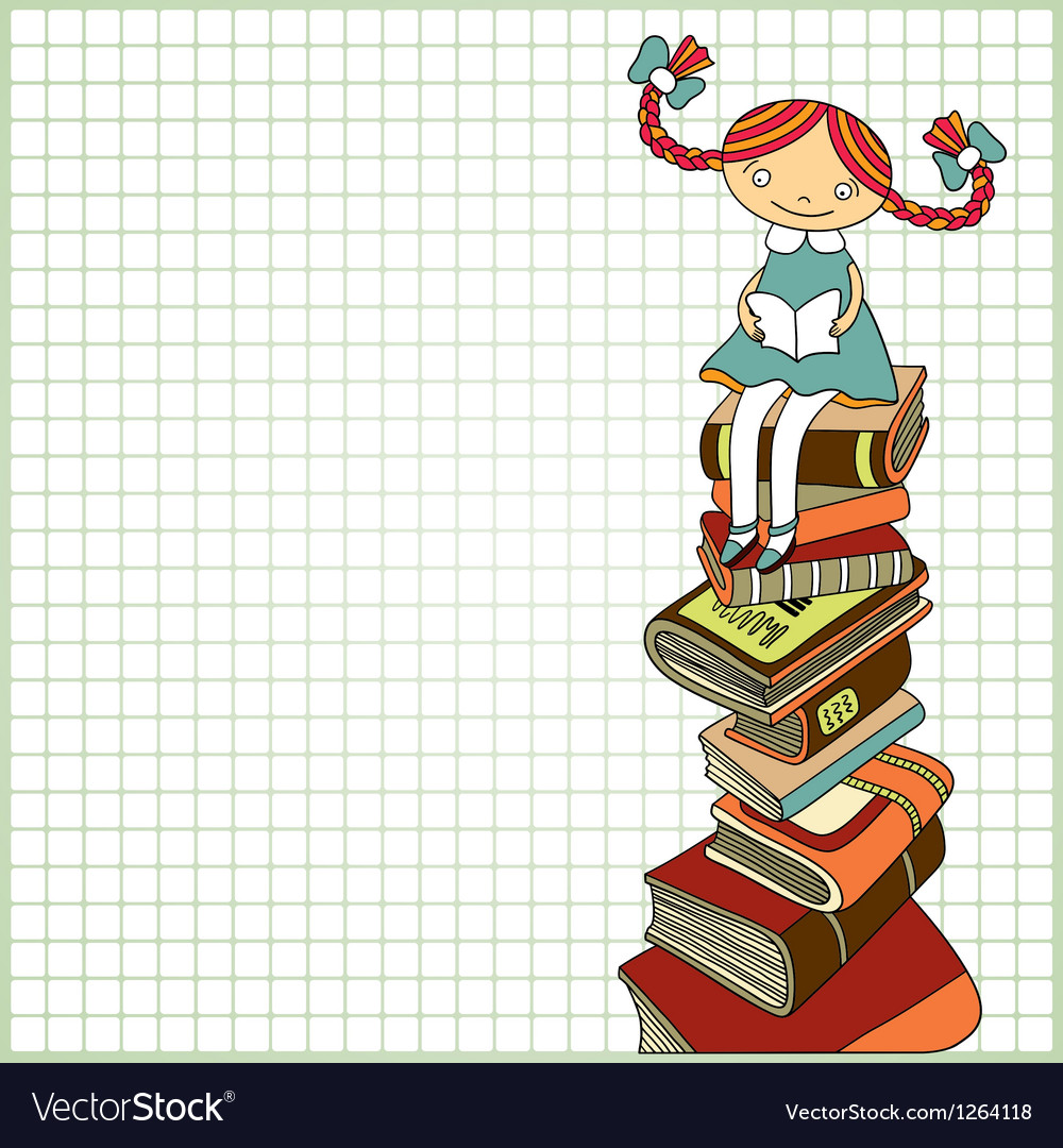 Schoolgirl sitting on the heap of books vector | Price: 1 Credit (USD $1)