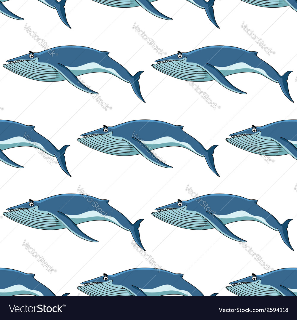 Seamless background pattern of blue whales vector | Price: 1 Credit (USD $1)