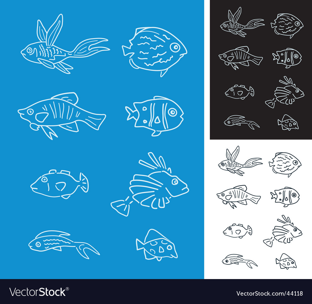 Set of fishes vector | Price: 1 Credit (USD $1)
