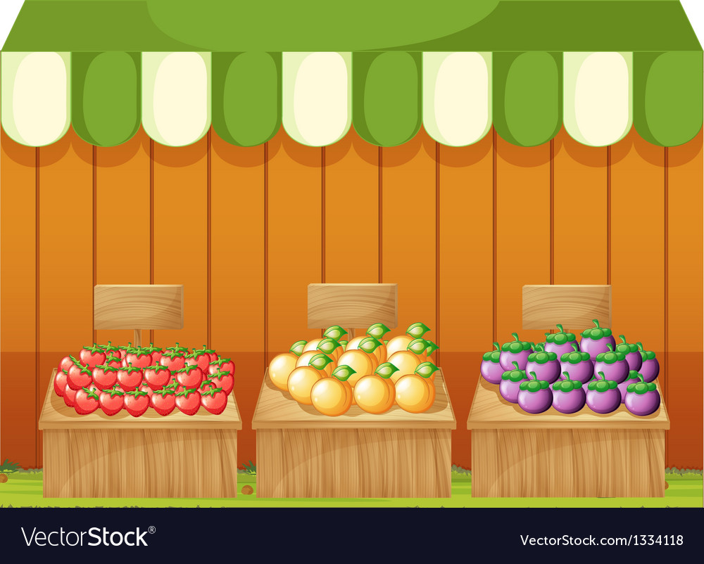 Three fruitstands with empty boards vector   Price: 1 Credit (USD $1)