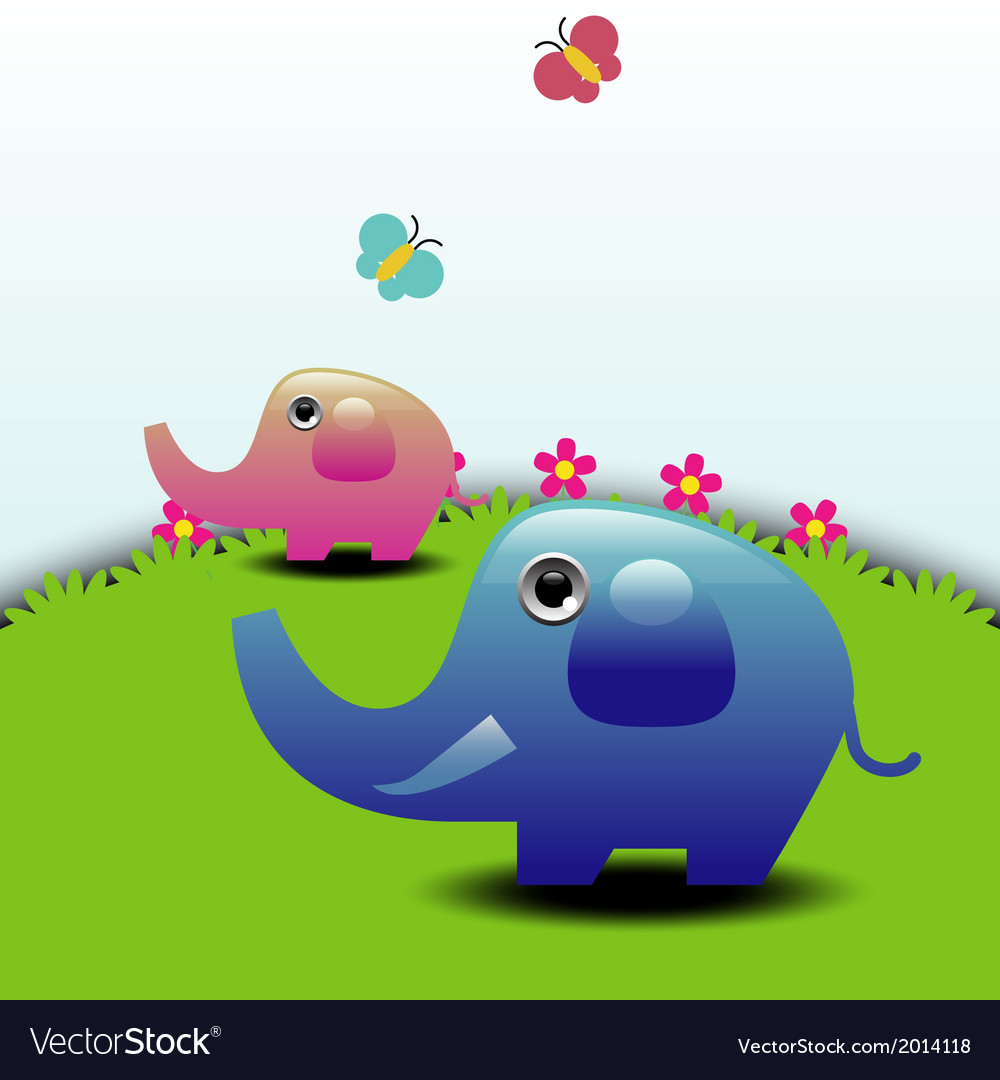Two elephants vector | Price: 1 Credit (USD $1)