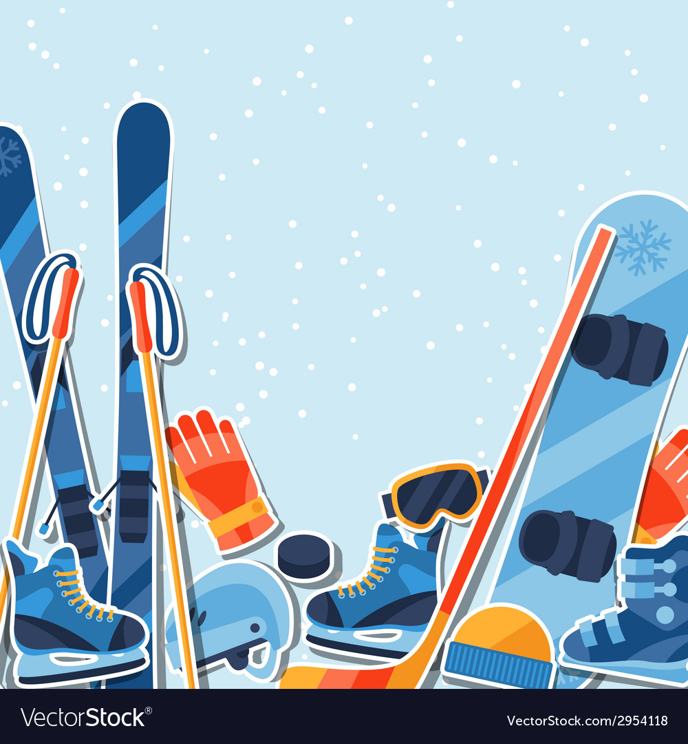 Winter sports background with equipment sticker vector | Price: 1 Credit (USD $1)