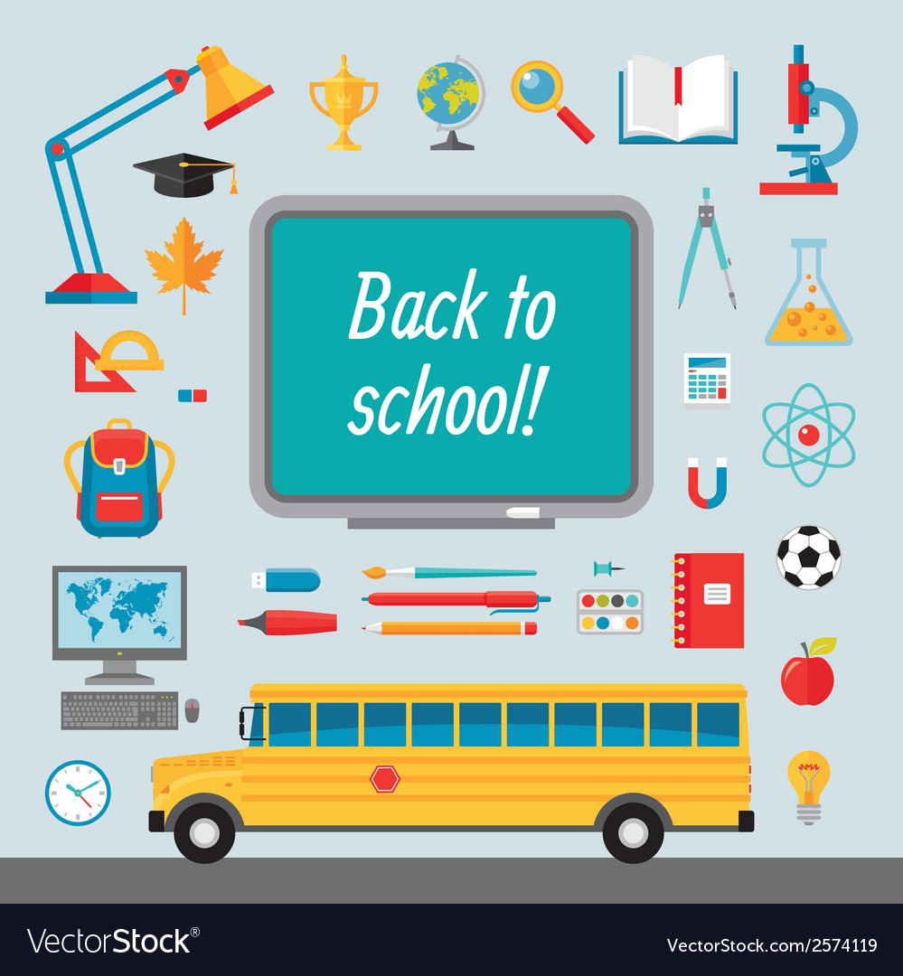 Back to school - set of icons in flat style vector | Price: 1 Credit (USD $1)