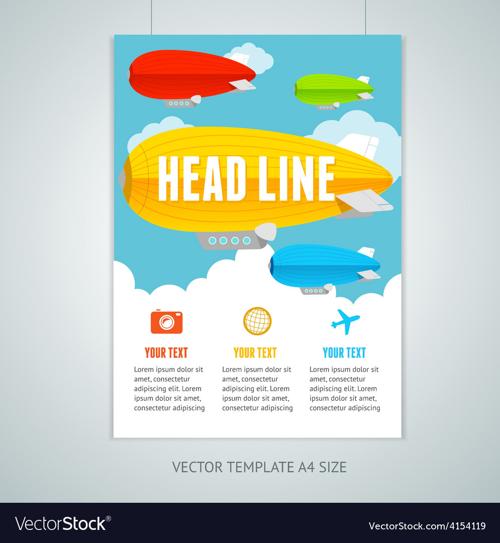 Hot air ballons with clouds brochure flyer vector | Price: 1 Credit (USD $1)
