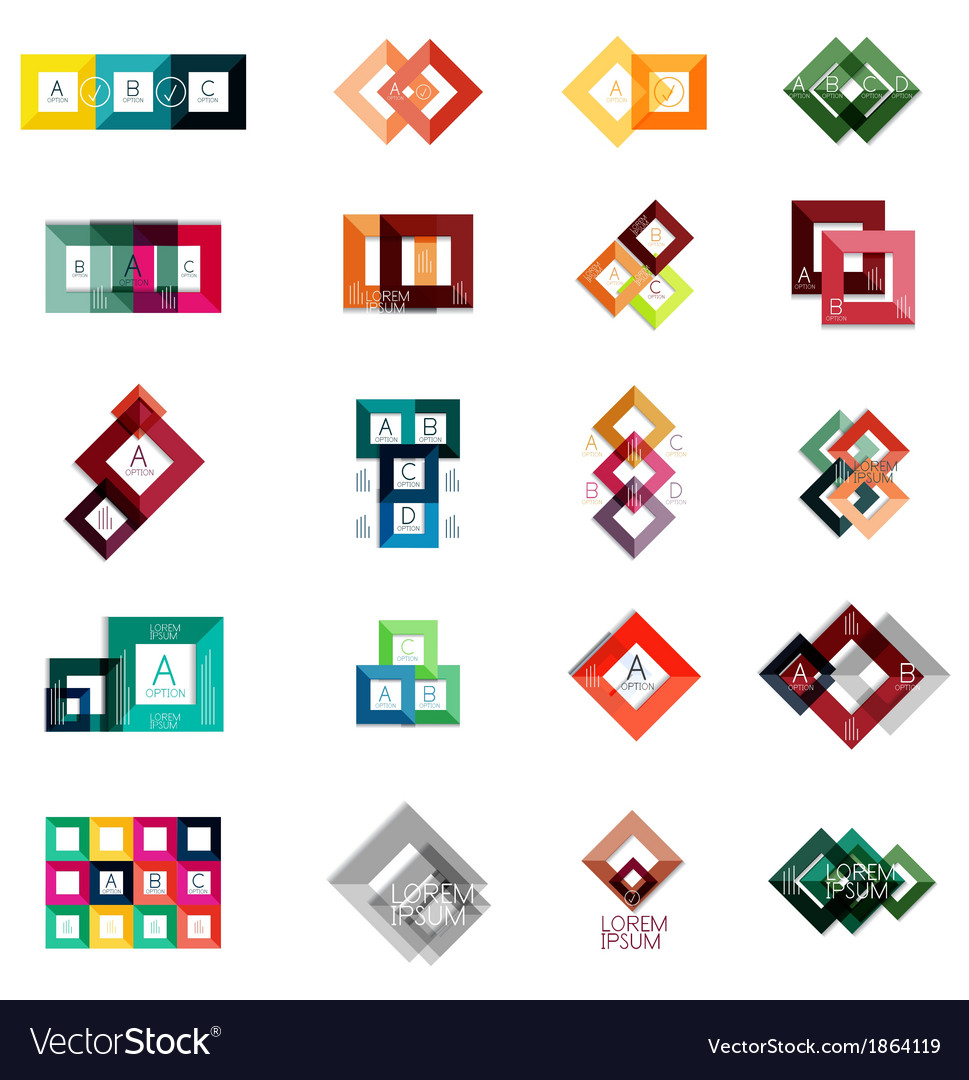 Huge set of square infographic templates 2 vector