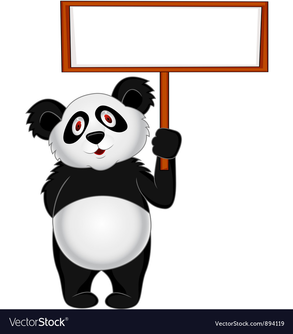 Panda cartoon with banner vector | Price: 3 Credit (USD $3)